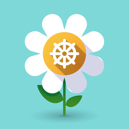 Illustration of a long shadow daisy flower with a dharma chakra sign