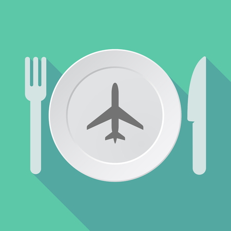 Illustration of a long shadow dish, fork and knife with a plane