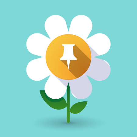 Illustration of a long shadow daisy flower with a push pin