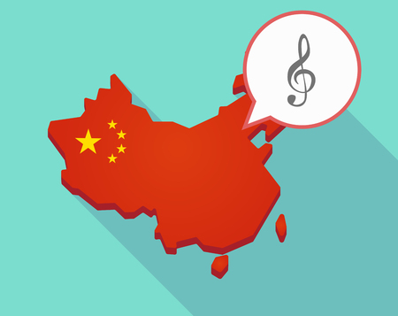 Illustration of a long shadow map of China, its flag and a comic balloon with a g clef