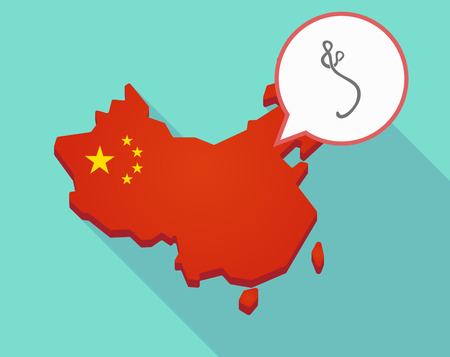 Illustration of a long shadow map of China, its flag and a comic balloon with  an ebola sign