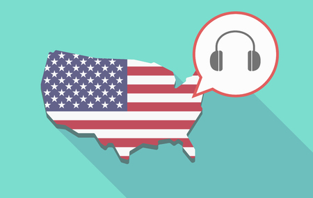 Illustration of a long shadow USA map, its flag and a comic balloon with a earphones Illustration