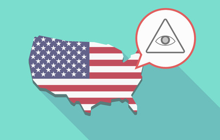 Illustration of a long shadow USA map, its flag and a comic balloon with an all seeing eye