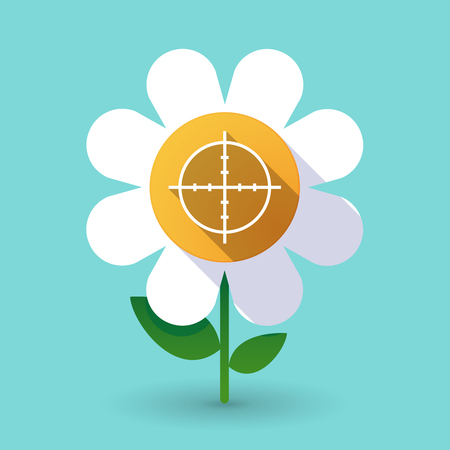 Illustration of a long shadow daisy flower with a crosshair Illustration