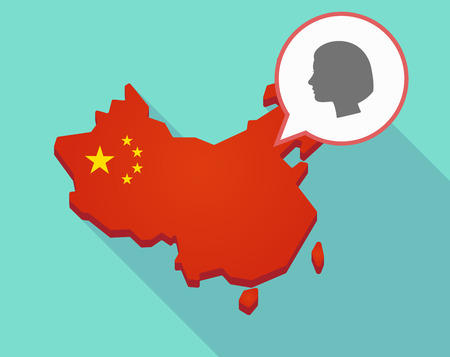Illustration of a long shadow map of China, its flag and a comic balloon with a female head
