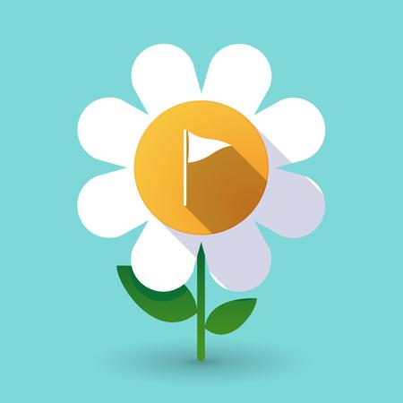 Illustration of a long shadow daisy flower with a golf flag