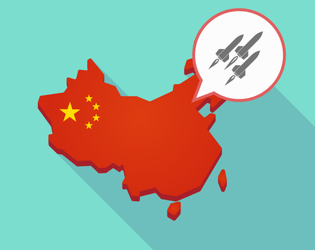 Illustration of a long shadow map of China, its flag and a comic balloon with missiles Illustration
