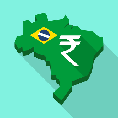 Illustration of a Long shadow map of Brazil, its flag and a rupee sign Illustration