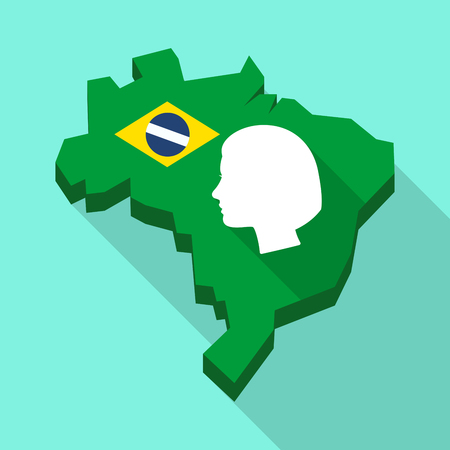 Illustration of a Long shadow map of Brazil, its flag and a female head