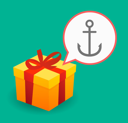 ship bow: Illustration of a present with a comic balloon and an anchor