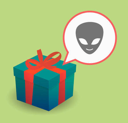 alien face: Illustration of a present with a comic balloon and an alien face