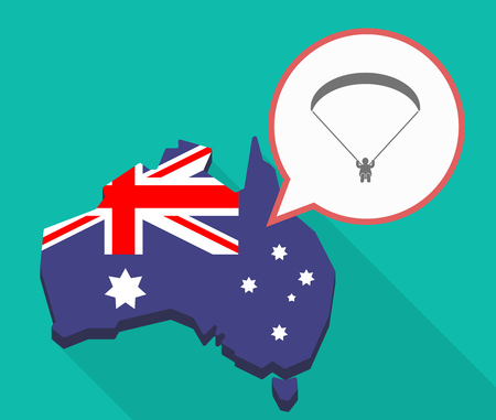 Illustration of a Long shadow map of Australia, its flag and a comic balloon with a paraglider