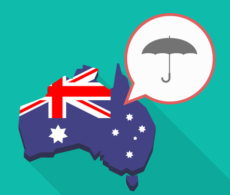 Illustration of a Long shadow map of Australia, its flag and a comic balloon with an umbrella