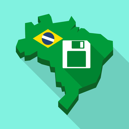 Illustration of a Long shadow map of Brazil, its flag and a floppy disk Illustration
