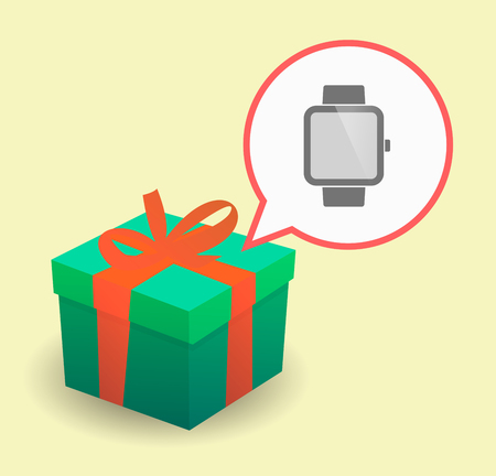 Illustration of a present with a comic balloon and a smart watch Illustration