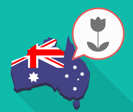 Illustration of a Long shadow map of Australia, its flag and a comic balloon with a tulip