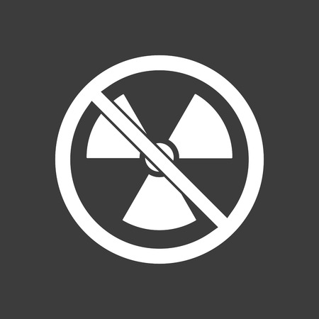 Isolated vector illustration of  a radioactivity sign  in a not allowed signal Illustration