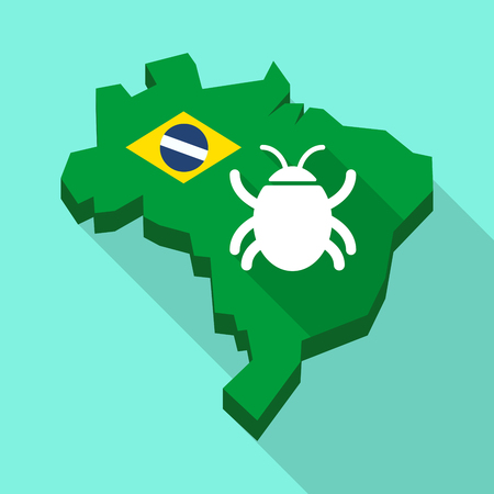 Illustration of a Long shadow map of Brazil, its flag and a bug Illustration