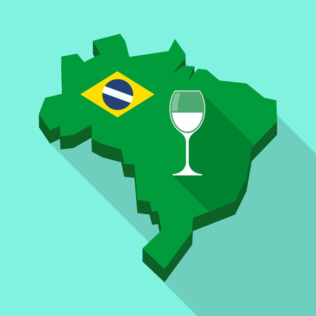 Illustration of a Long shadow map of Brazil, its flag and a cup of wine