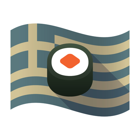 Illustration of a long shadow Greece waving flag with a piece of sushi maki
