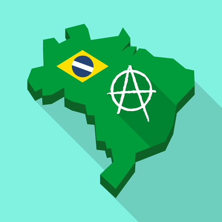 Illustration of a Long shadow map of Brazil, its flag and an anarchy sign