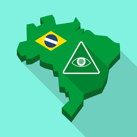 Illustration of a Long shadow map of Brazil, its flag and an all seeing eye Illustration