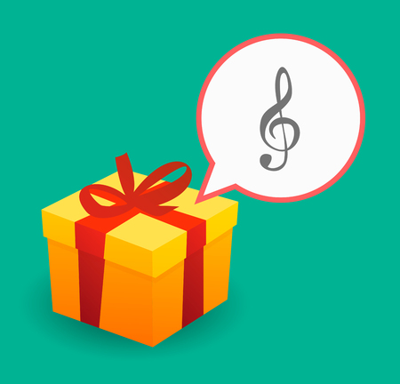 sound box: Illustration of a present with a comic balloon and a g clef