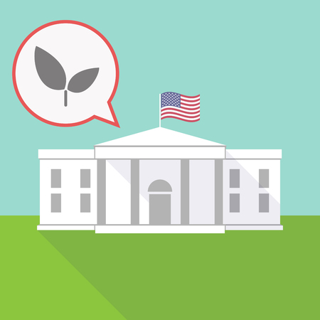 Illustration of the White House with a balloon and a plant Çizim
