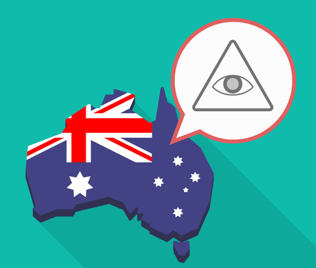 Illustration of a Long shadow map of Australia, its flag and a comic balloon with an all seeing eye Illustration
