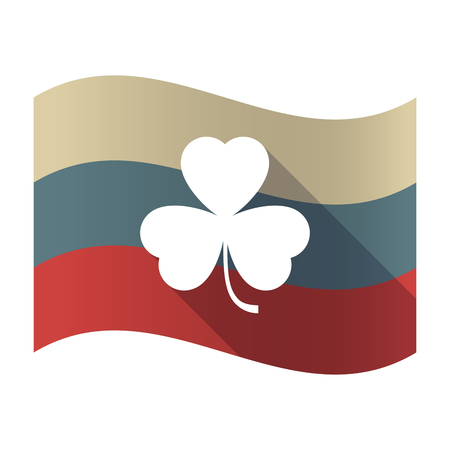 Illustration of a long shadow Russia waving flag with a clover Illustration