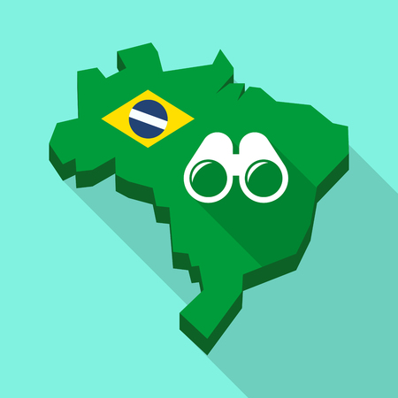 Illustration of a Long shadow map of Brazil, its flag and a binoculars