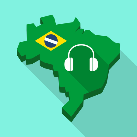 Illustration of a Long shadow map of Brazil, its flag and a earphones