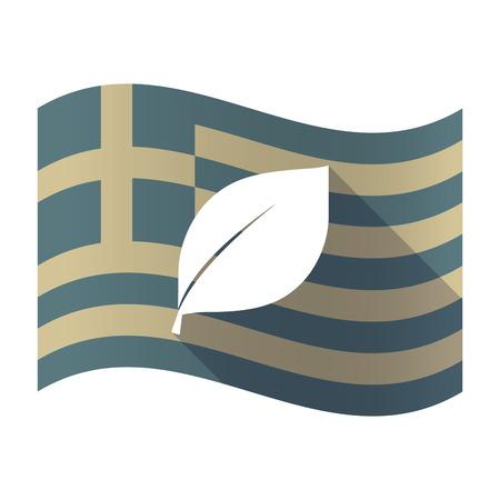 Illustration of a long shadow Greece waving flag with a leaf Çizim