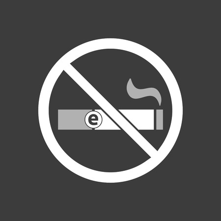 Isolated vector illustration of  an e-cigarette  in a not allowed signal