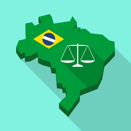 Illustration of a Long shadow map of Brazil, its flag and a justice weight scale sign Illustration