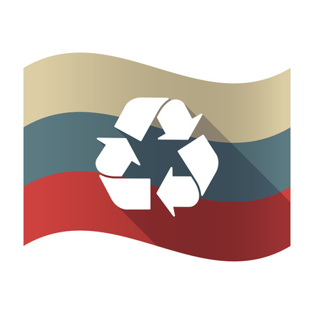 Illustration of a long shadow Russia waving flag with a recycle sign