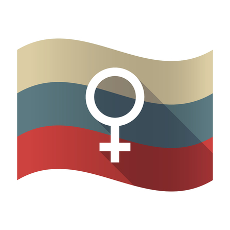 femal: Illustration of a long shadow Russia waving flag with a female sign