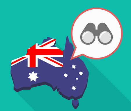 Illustration of a Long shadow map of Australia, its flag and a comic balloon with a binoculars Illustration