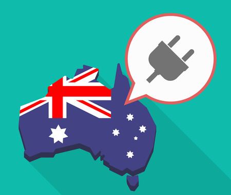 Illustration of a Long shadow map of Australia, its flag and a comic balloon with a plug