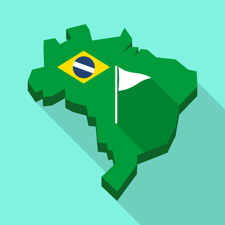 Illustration of a Long shadow map of Brazil, its flag and a golf flag