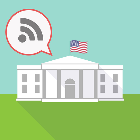 really simple syndication: Illustration of the White House with a balloon and an RSS sign