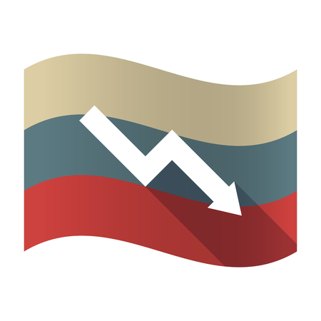 descending: Illustration of a long shadow Russia waving flag with a descending graph