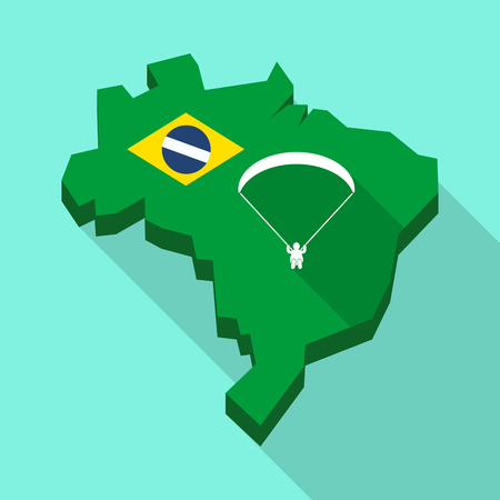 Illustration of a Long shadow map of Brazil, its flag and a paraglider