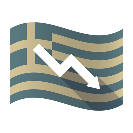 Illustration of a long shadow Greece waving flag with a descending graph