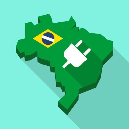 Illustration of a Long shadow map of Brazil, its flag and a plug