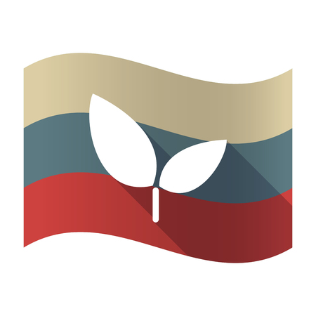 Illustration of a long shadow Russia waving flag with a plant Çizim