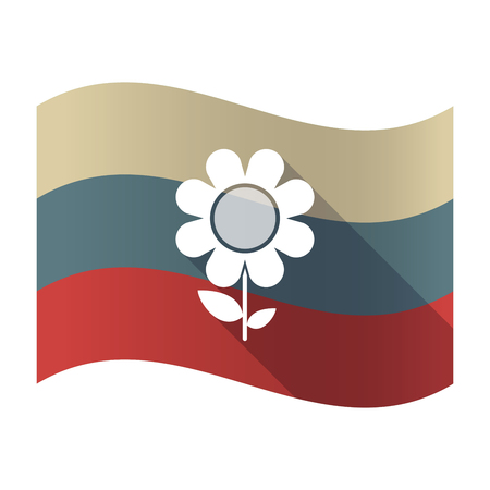 Illustration of a long shadow Russia waving flag with a flower Çizim