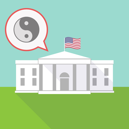 Illustration of the White House with a balloon and a ying yang