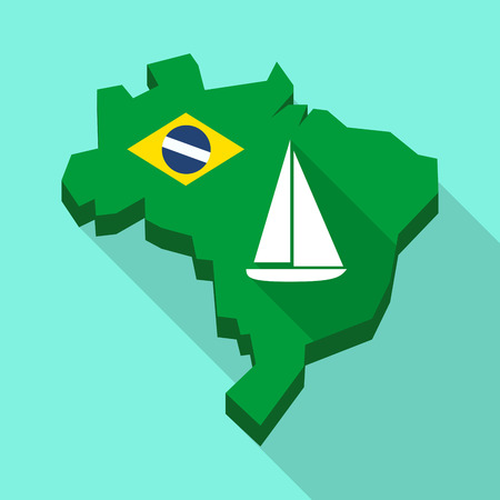 Illustration of a Long shadow map of Brazil, its flag and a ship