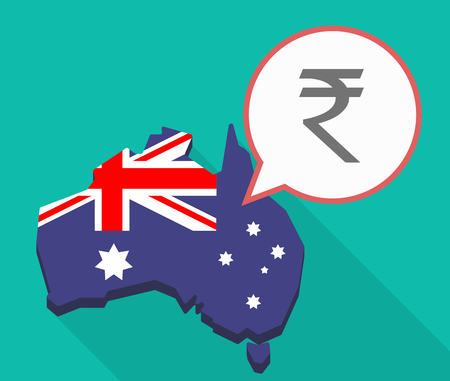 Illustration of a Long shadow map of Australia, its flag and a comic balloon with a rupee sign